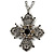 Vintage Inspired Filigree Diamante 'Cross' Pendant With Silver Tone Oval Link Chain - 40cm Length/ 6cm Extender