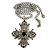Vintage Inspired Filigree Diamante 'Cross' Pendant With Silver Tone Oval Link Chain - 40cm Length/ 6cm Extender - view 3