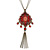 Red, Pink Enamel Tassel Pendant With 80cm L Bronze Tone Double Chain