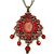 Red, Pink Enamel Tassel Pendant With 80cm L Bronze Tone Double Chain - view 3