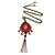 Red, Pink Enamel Tassel Pendant With 80cm L Bronze Tone Double Chain - view 2