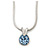 7mm Light Blue Round Crystal Pendant With Silver Tone Snake Chain - 36cm Length/ 5cm Extension