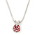 7mm Pink Round Crystal Pendant With Silver Tone Snake Chain - 36cm Length/ 5cm Extension