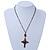 Vintage Inspired Red Crystal, Enamel Cross Pendant With Bronze Tone Chains - 46cm L/ 7cm Ext - view 5