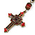 Vintage Inspired Red Crystal, Enamel Cross Pendant With Bronze Tone Chains - 46cm L/ 7cm Ext - view 2