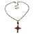 Vintage Inspired Red Crystal, Enamel Cross Pendant With Bronze Tone Chains - 46cm L/ 7cm Ext - view 3