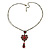 Vintage Inspired Red/ Cranberry Charm Heart Pendant With Double Bronze Tone Chains - 44cm L/ 7cm Ext - view 4