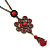 Vintage Inspired Red/ Cranberry Charm Heart Pendant With Double Bronze Tone Chains - 44cm L/ 7cm Ext - view 2
