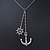 Vintage Inspired 'Anchor & Steer Wheel' Pendant With Silvder Tone Chain Necklace - 36cm L/ 8cm Ext - view 2