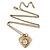 Antique Gold Heart Locket Pendant With Long Chain - 68cm L/ 8cm Ext - view 5