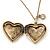 Antique Gold Heart Locket Pendant With Long Chain - 68cm L/ 8cm Ext - view 3