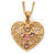 Romantic Filigree Pink Diamante 'Heart' Pendant With Gold Plated Chain - 38cm Length/ 7cm Extension
