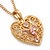 Romantic Filigree Pink Diamante 'Heart' Pendant With Gold Plated Chain - 38cm Length/ 7cm Extension - view 2