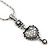 Small Crystal Heart Pendant With Pewter Tone Chain - 40cm L - view 2