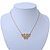 Small Matte Gold 'Butterfly' Pendant Necklace - 36cm Length/ 6cm Extension - view 6