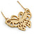 Small Matte Gold 'Butterfly' Pendant Necklace - 36cm Length/ 6cm Extension - view 2