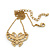 Small Matte Gold 'Butterfly' Pendant Necklace - 36cm Length/ 6cm Extension - view 4