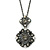 Victorian Style Crystal Double Square Pendant With 44cm L Gun Metal Chain