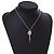 Vintage Inspired Delicate Charm Tassel Pendant Necklace In Matte Silver Tone - 40cm L/ 6cm Ext - view 2