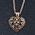 Small Burn Gold Marcasite Crystal 'Heart' Pendant With Gold Tone Chain - 40cm Length/ 5cm Extension - view 6