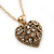 Small Burn Gold Marcasite Crystal 'Heart' Pendant With Gold Tone Chain - 40cm Length/ 5cm Extension - view 8