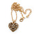 Small Burn Gold Marcasite Crystal 'Heart' Pendant With Gold Tone Chain - 40cm Length/ 5cm Extension - view 3