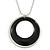 Black Enamel Double Hoop Pendant With Silver Tone Chain - 36cm L/ 6cm Ext