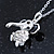 Small Crystal Elephant Pendant With Silver Tone Snake Chain - 40cm Length/ 4cm Extension - view 5