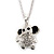 Small Crystal Elephant Pendant With Silver Tone Snake Chain - 40cm Length/ 4cm Extension - view 3