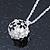 Black, White Enamel, Crystal Flower Ball Pendant With Silver Tone Chain - 40cm Length/ 5cm Extension
