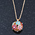 Multicoloured Enamel, Crystal Flower Ball Pendant With Gold Tone Chain - 40cm Length/ 5cm Extension - view 8