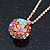 Multicoloured Enamel, Crystal Flower Ball Pendant With Gold Tone Chain - 40cm Length/ 5cm Extension - view 10