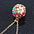 Multicoloured Enamel, Crystal Flower Ball Pendant With Gold Tone Chain - 40cm Length/ 5cm Extension - view 2