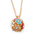Multicoloured Enamel, Crystal Flower Ball Pendant With Gold Tone Chain - 40cm Length/ 5cm Extension - view 11