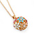 Multicoloured Enamel, Crystal Flower Ball Pendant With Gold Tone Chain - 40cm Length/ 5cm Extension - view 3