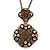 Victorian Style Topaz Coloured Crystal Double Square Pendant with Chain In Bronze Tone - 44cm L