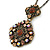 Victorian Style Topaz Coloured Crystal Double Square Pendant with Chain In Bronze Tone - 44cm L - view 3