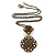 Victorian Style Topaz Coloured Crystal Double Square Pendant with Chain In Bronze Tone - 44cm L - view 7