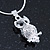 Clear Crystal Owl Pendant With Silver Tone Snake Chain - 40cm Length/ 4cm Extension - view 4