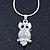 Clear Crystal Owl Pendant With Silver Tone Snake Chain - 40cm Length/ 4cm Extension