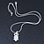Clear Crystal Owl Pendant With Silver Tone Snake Chain - 40cm Length/ 4cm Extension - view 6