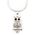 Clear Crystal Owl Pendant With Silver Tone Snake Chain - 40cm Length/ 4cm Extension - view 2