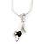Small Crystal, Black Enamel High Heel Shoe Pendant With Silver Tone Snake Chain - 40cm Length/ 4cm Extension