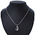 Open Heart Crystal Pendant With Silver Tone Snake Chain - 40cm Length/ 4cm Extension - view 8