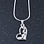 Open Heart Crystal Pendant With Silver Tone Snake Chain - 40cm Length/ 4cm Extension - view 2