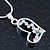 Open Heart Crystal Pendant With Silver Tone Snake Chain - 40cm Length/ 4cm Extension - view 10