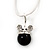 Small Crystal Mouse Pendant With Silver Tone Snake Chain - 40cm Length/ 4cm Extension