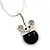 Small Crystal Mouse Pendant With Silver Tone Snake Chain - 40cm Length/ 4cm Extension - view 3