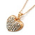 Pave Set Crystal Heart Pendant With Gold Tone Chain - 40cm Length - view 2