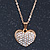 Pave Set Crystal Heart Pendant With Gold Tone Chain - 40cm Length - view 6